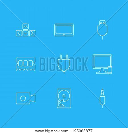 Vector Illustration Of 9 Computer Icons. Editable Pack Of Phone Near Computer, Input Jack, Socket And Other Elements.