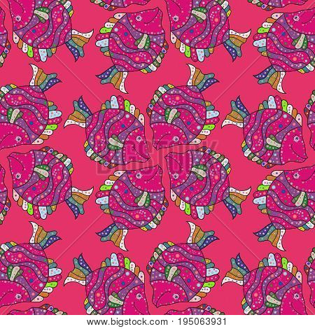 On colored background with flowers. Fabric textile seamless pattern with sea fishes Vector illustration.