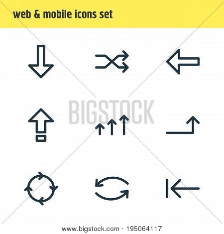 Vector Illustration Of 9 Sign Icons. Editable Pack Of Download, Shrift, Update And Other Elements.