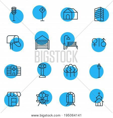 Vector Illustration Of 16 Public Icons. Editable Pack Of Skyscraper, Subway, Awning And Other Elements.
