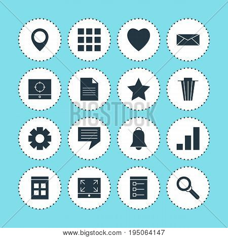Vector Illustration Of 16 Web Icons. Editable Pack Of Board, Date Time, Map Pointer And Other Elements.