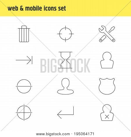 Vector Illustration Of 12 Interface Icons. Editable Pack Of Avatar, Man Member, Hourglass And Other Elements.