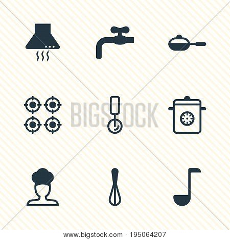 Vector Illustration Of 9 Kitchenware Icons. Editable Pack Of Corolla, Round Slicer, Pan And Other Elements.