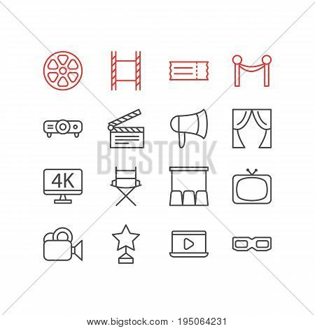 Vector Illustration Of 16 Film Icons. Editable Pack Of Camera, Cinema Fence, Filmstrip And Other Elements.