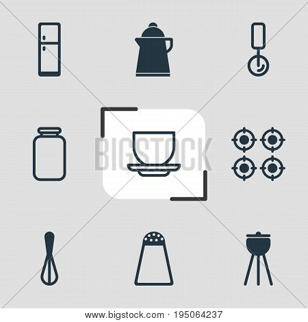 Vector Illustration Of 9 Cooking Icons. Editable Pack Of Coffee Cup, Tea, Barbecue And Other Elements.