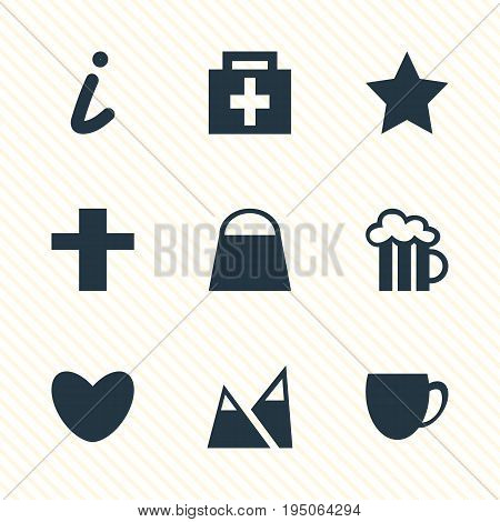 Vector Illustration Of 9 Location Icons. Editable Pack Of Coffee Shop, Drugstore, Cross And Other Elements.