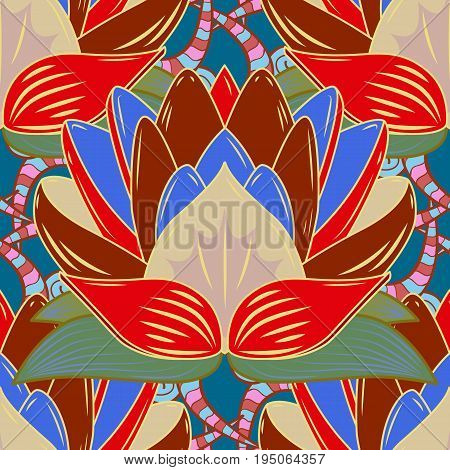 Vector illustration. Seamless pattern with floral ornament. Flowers on colorful background.