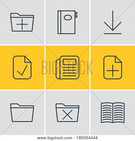 Vector Illustration Of 9 Bureau Icons. Editable Pack Of Template, Plus, Textbook And Other Elements.