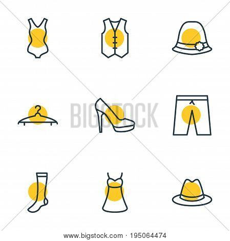 Vector Illustration Of 9 Garment Icons. Editable Pack Of Cloakroom, Swimming Trunks, Waistcoat And Other Elements.