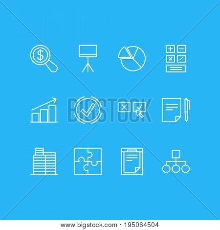 Vector Illustration Of 12 Business Icons. Editable Pack Of Riddle, Calculate, Scheme And Other Elements.