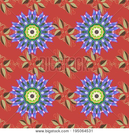 Vintage vector floral seamless pattern in colors.