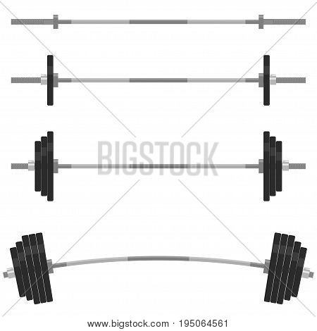 Barbell with different weights set. Weightlifting equipment. Fitness design elements, Gym emblem. Barbells Collection. Vector illustration