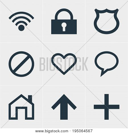 Vector Illustration Of 9 User Icons. Editable Pack Of Padlock, Access Denied, Cordless Connection And Other Elements.