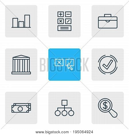 Vector Illustration Of 9 Business Icons. Editable Pack Of Magnifier, Recision, Building And Other Elements.