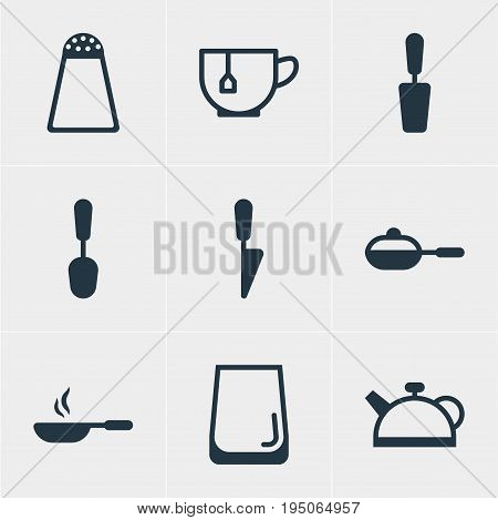 Vector Illustration Of 9 Cooking Icons. Editable Pack Of Frying Pan, Pepper Container, Spatula And Other Elements.