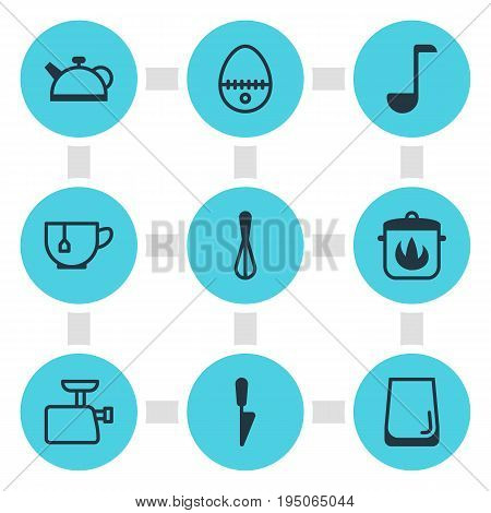 Vector Illustration Of 9 Kitchenware Icons. Editable Pack Of Kitchen Dagger, Teakettle, Stewpot And Other Elements.