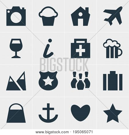 Vector Illustration Of 16 Map Icons. Editable Pack Of Drugstore, Aircraft, Handbag Elements.