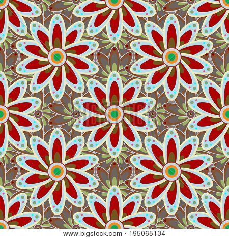 Tender seamless pattern with flowers. Vector floral illustration in vintage style. Gentle spring floral on colorful background. Vector illustration.