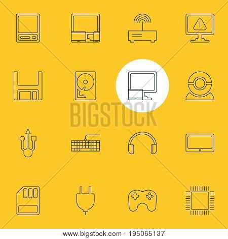 Vector Illustration Of 16 Laptop Icons. Editable Pack Of Hard Drive Disk, Socket, Storage And Other Elements.