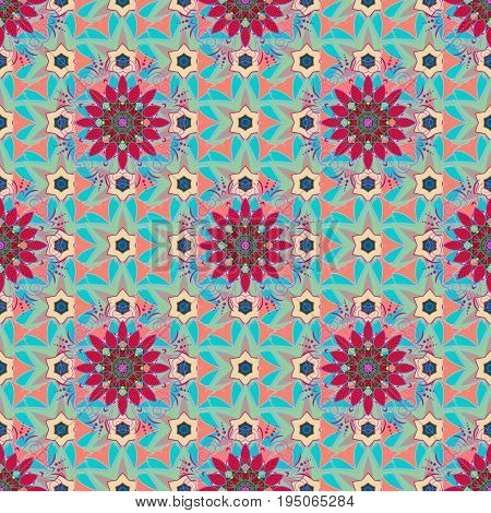 Motley seamless pattern. Vector abstract flower background. Pretty floral print with pink small flowers.