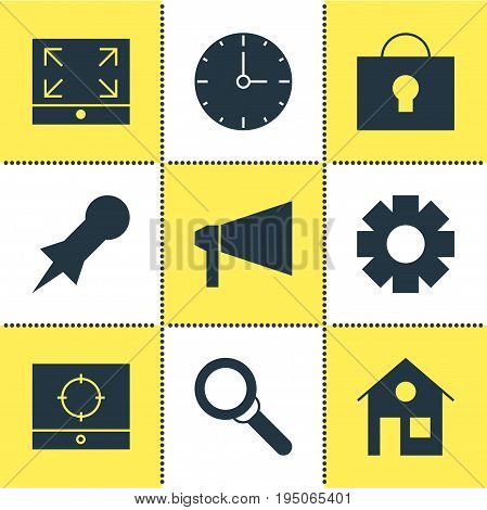 Vector Illustration Of 9 Web Icons. Editable Pack Of Target Scope, Clock, Gear And Other Elements.
