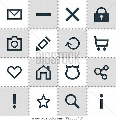 Vector Illustration Of 16 Interface Icons. Editable Pack Of Alert, Padlock, Mainpage And Other Elements.