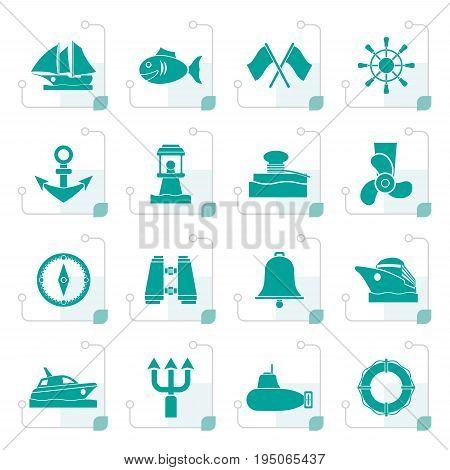 Stylized Marine, sea and nautical icons - vector icon set