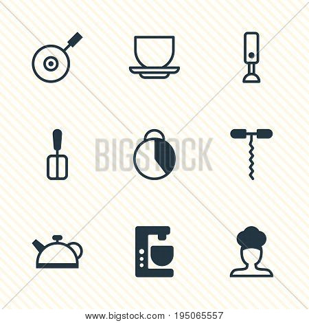 Vector Illustration Of 9 Restaurant Icons. Editable Pack Of Skillet, Coffee Cup, Teakettle And Other Elements.