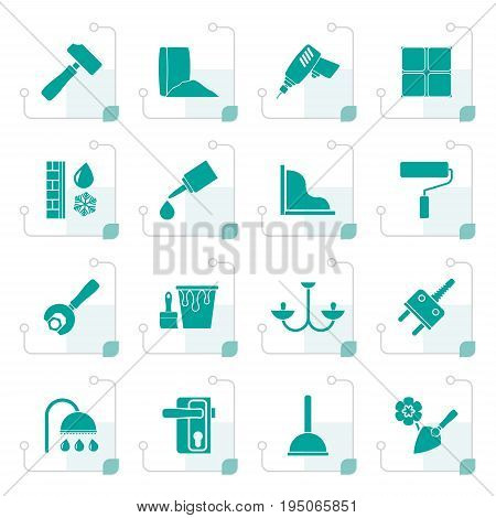 Stylized Construction and building equipment Icons - vector icon set 1