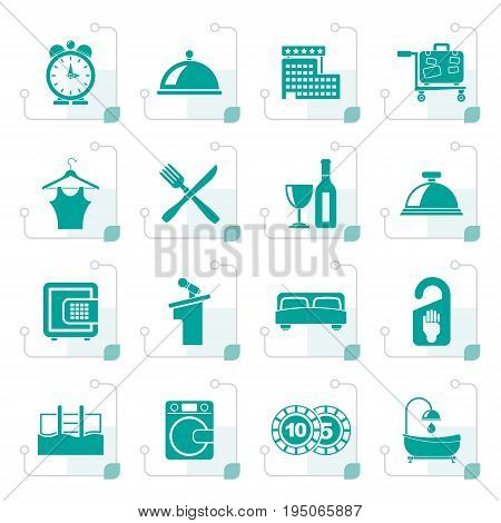 Stylized Hotel and motel icons - Vector icon Set