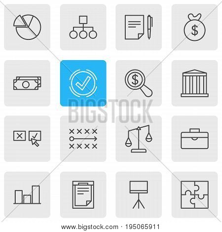 Vector Illustration Of 16 Business Icons. Editable Pack Of File, Agreement, Building And Other Elements.
