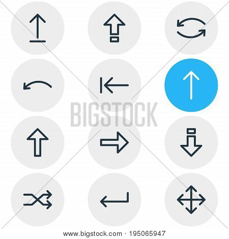 Vector Illustration Of 12 Sign Icons. Editable Pack Of Right, Upwards, Widen And Other Elements.