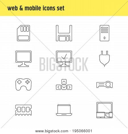 Vector Illustration Of 12 Laptop Icons. Editable Pack Of Storage, Gadgets, Presentation And Other Elements.