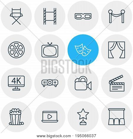 Vector Illustration Of 16 Cinema Icons. Editable Pack Of Monitor, Tv, Hall And Other Elements.