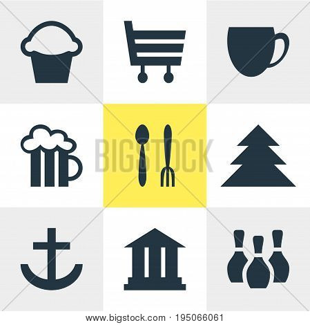 Vector Illustration Of 9 Location Icons. Editable Pack Of Cafe, Skittles, Coffee Shop And Other Elements.