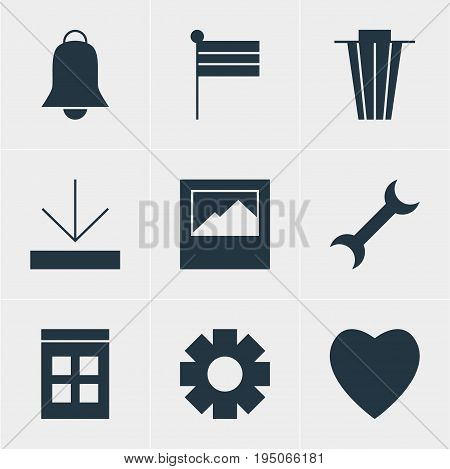 Vector Illustration Of 9 Online Icons. Editable Pack Of Landscape Photo, Settings, Gear Elements.
