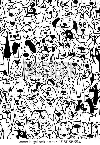 Different type of cartoon dogs dogs seamless pattern. Puppies cartoon vector background. Pet illustration.
