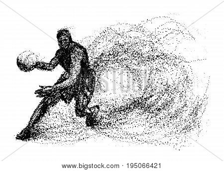 Basketball of the particles. Silhouette of a Basketball player from particles.Basketball player
