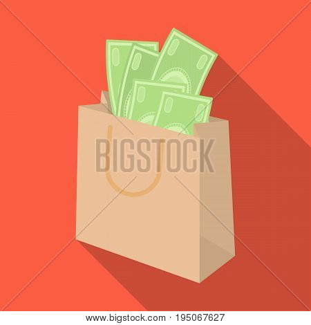 Bag with money. E-commerce single icon in flat style vector symbol stock illustration .
