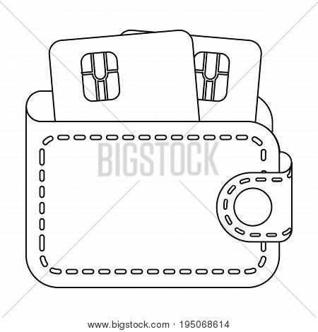 Leather wallet with credit cards. E-commerce single icon in outline style vector symbol stock illustration .