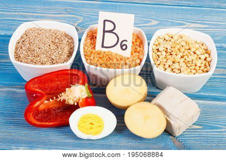 Ingredients Containing Vitamin B6, Natural Minerals And Dietary Fiber, Healthy Nutrition Concept