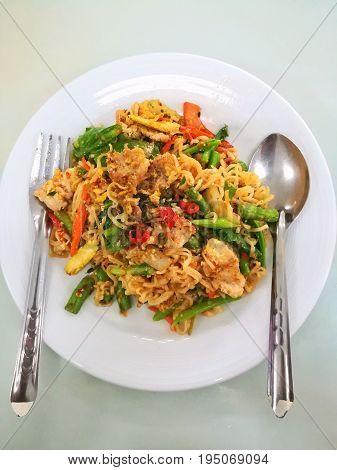 Thai fusion food, noodle spice, Pad Kii Mao