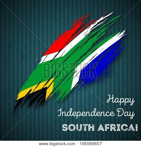 South Africa Independence Day Patriotic Design. Expressive Brush Stroke In National Flag Colors On D