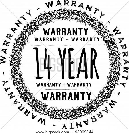 14 year warranty icon vintage rubber stamp guarantee