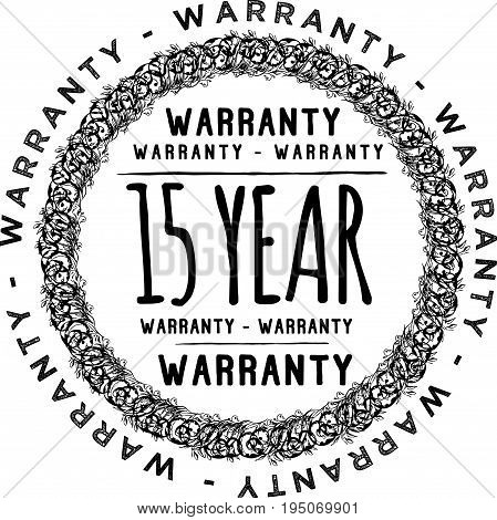 15 year warranty icon vintage rubber stamp guarantee