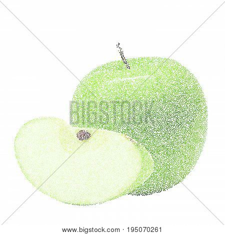 Tropical Nature Fresh Colorful Stippling Fruit Isolated Vector Green Apple