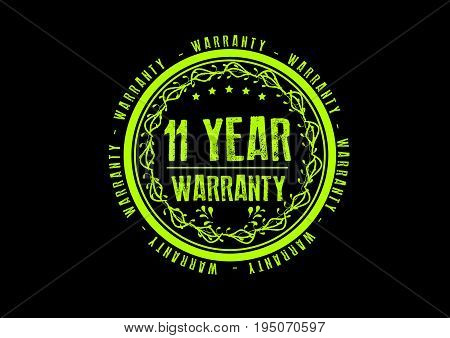 11 year warranty icon vintage rubber stamp guarantee