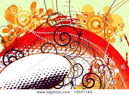 Banner for your text, decorated with plant and grunge elements, stained, spray, wavelets, beads on a green, orange, red and white background. JPG (See Vector  Also In My Portfolio)