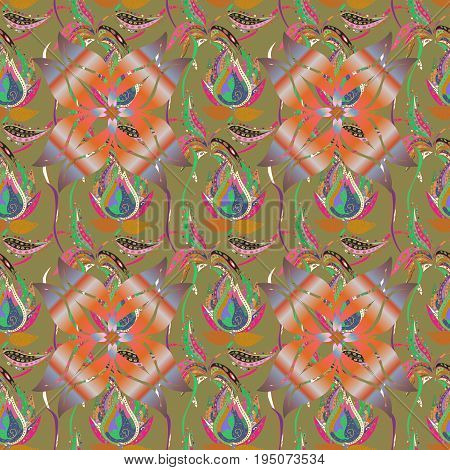 Seamless exotic pattern with many blue tropical flowers. Blooming jungle. Motley vector illustration.