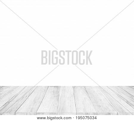 Vintage Surface White Wood Table And Rustic Grain Texture Background. Close Up Of Dark Rustic Wall M